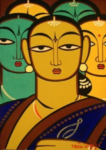 Painting style Kalighat Pat by Jamini Roy