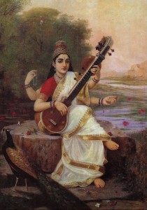Painting of Goddess Saraswati as a human by Raja Ravi Varma`